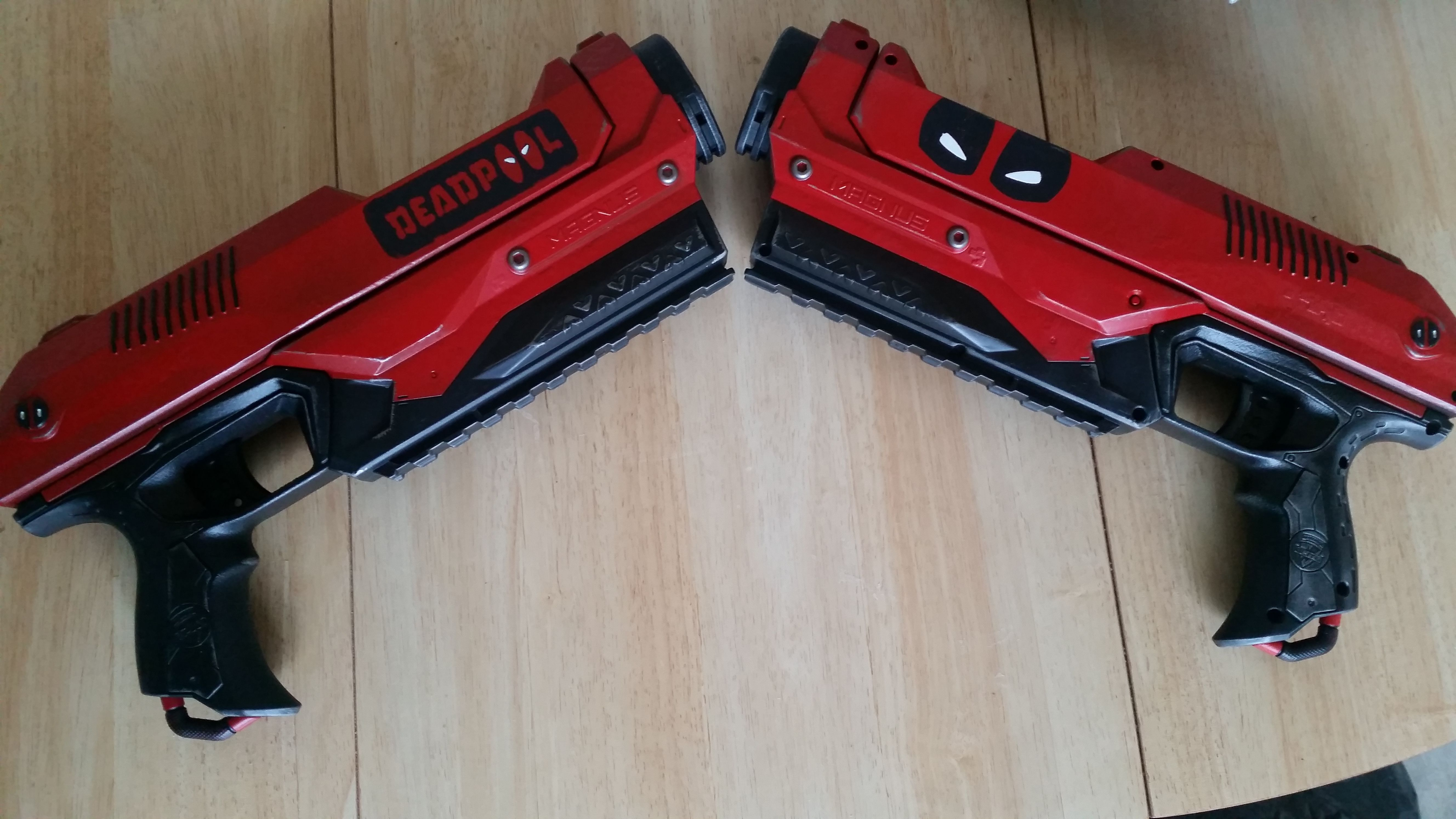Custom Deadpool Nerf guns These fire the big Mega darts And look awesome