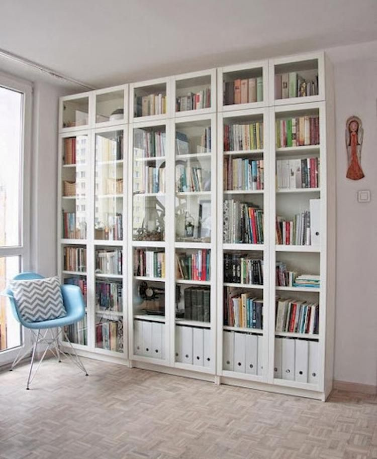 40 Super Scandinavian Ideas For Your Home Library Bookcase With Glass Doors Ikea Bookcase Rooms Home Decor