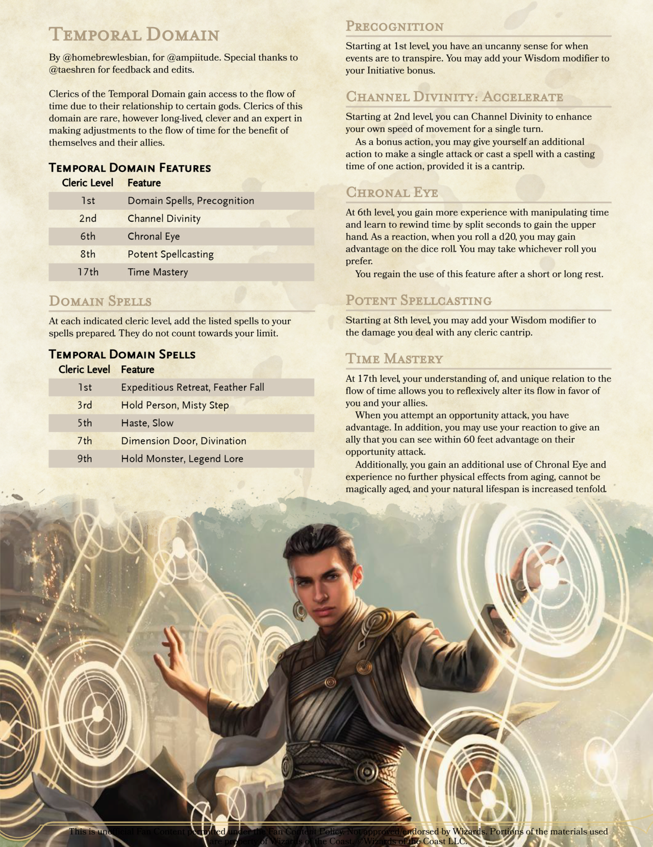 5E HOMEBREW AND RESOURCES — SPATIAL AND TEMPORAL DOMAINS—so temporal domain...