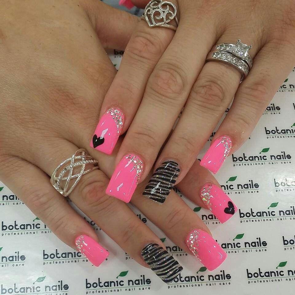 Pink and black nail art pinterest