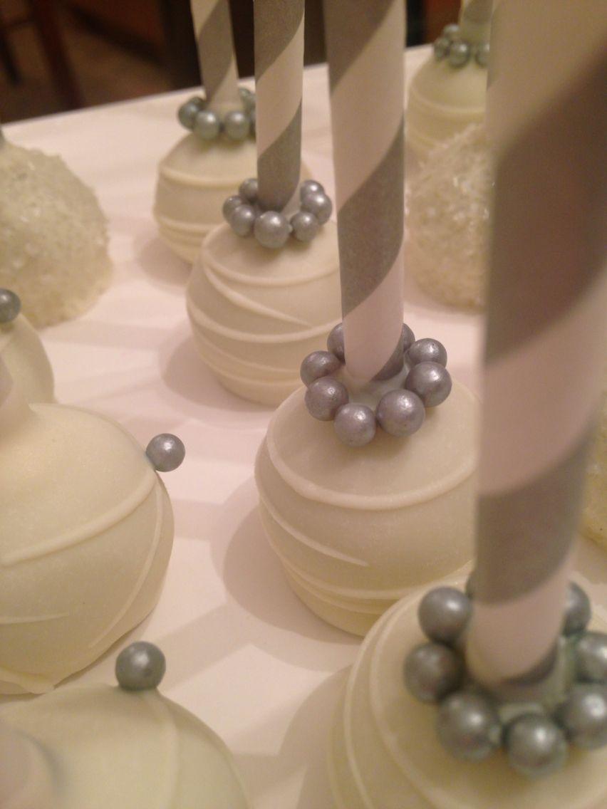 25th wedding decoration ideas  Elegant silver pearled cakepops Happy  th wedding anniversary