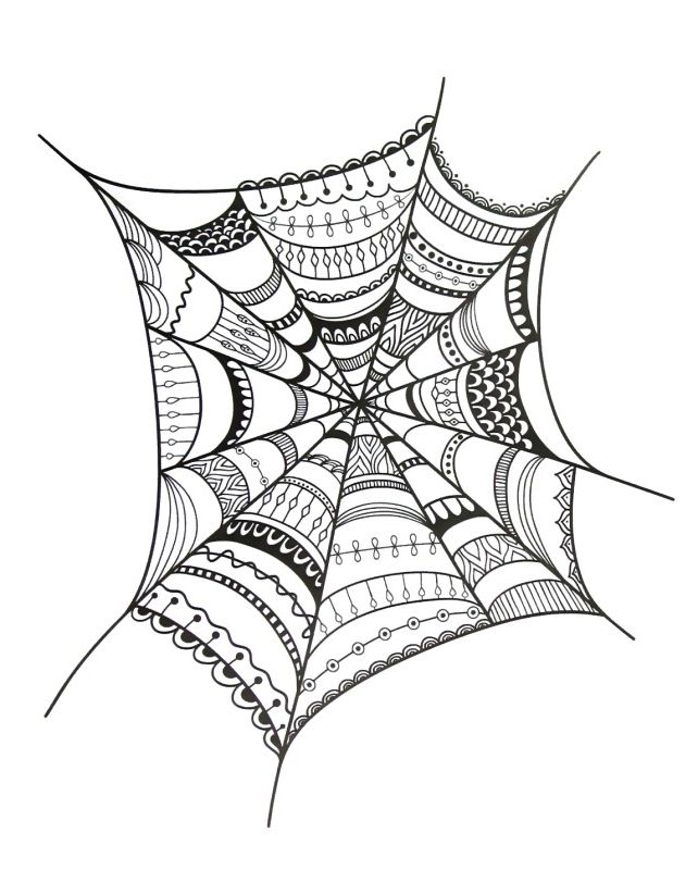 Fancy Spider Web Coloring Book Page Web Colors Coloring Book