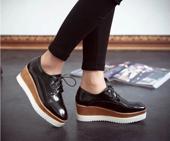 Fashion new Womens Wedge Mid Heel Lace Up Sneakers Platform Creeper Shoes Hot