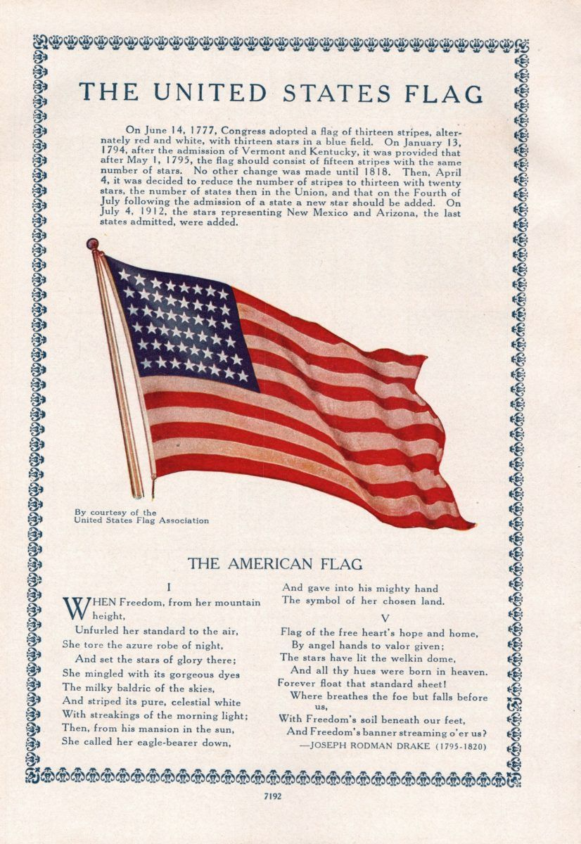 1945 Book Of Knowledge Page Flags Of The United States On Three Sides And American Flag On One Side In 2020 American Flag History American Flag American Flag Coloring Page