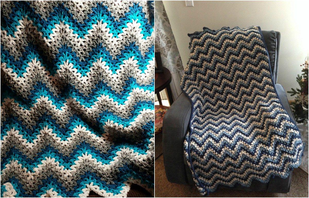 Easy] V-Stitch Crochet Ripple Afghan - Free Pattern | DIY | Pinterest