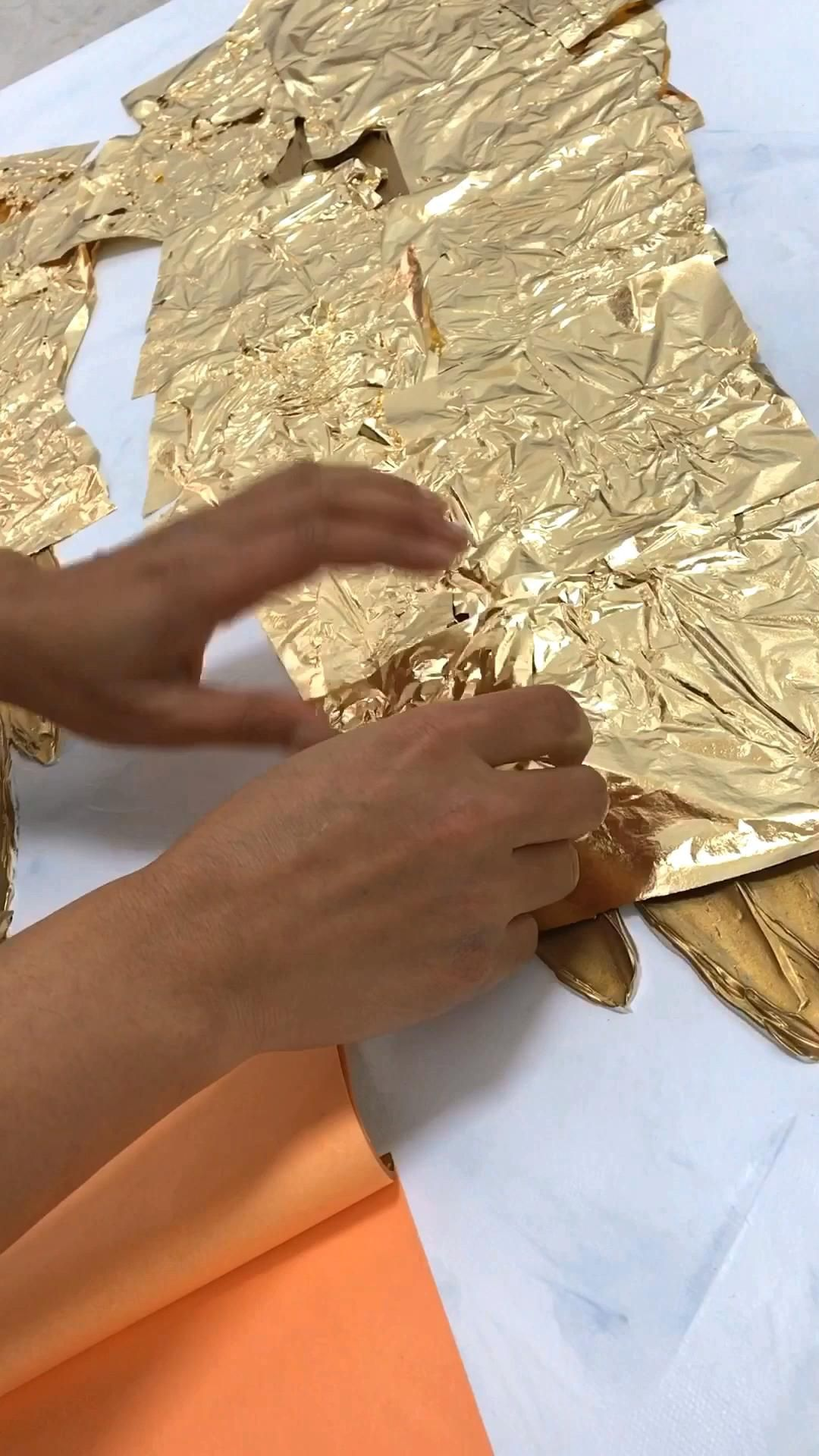 Art video, Gold leaf angel wings painting, feather