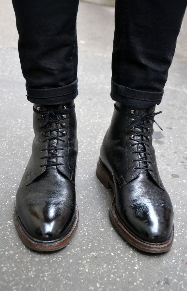 mens black leather lace up boots