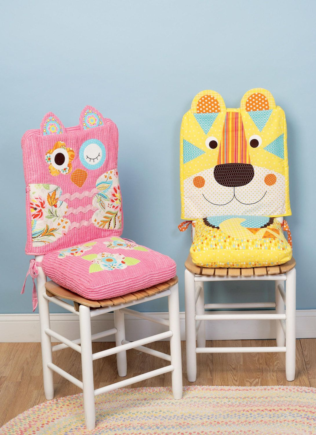 Sewing Pattern For Animal Motif Chair Covers And Seat Cushions Would Be Wonderful For A Childs Birthd Kids Chair Covers Chair Covers Party School Chair Covers