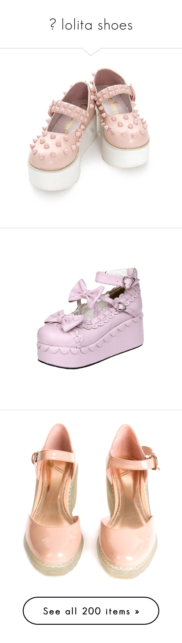 """♡ lolita shoes"" by feels-like-this-could-be-forever ❤ liked on Polyvore featuring shoes, platforms, footwear, bow shoes, pleather shoes, platform shoes, pu leather shoes, flats, pink and heels"