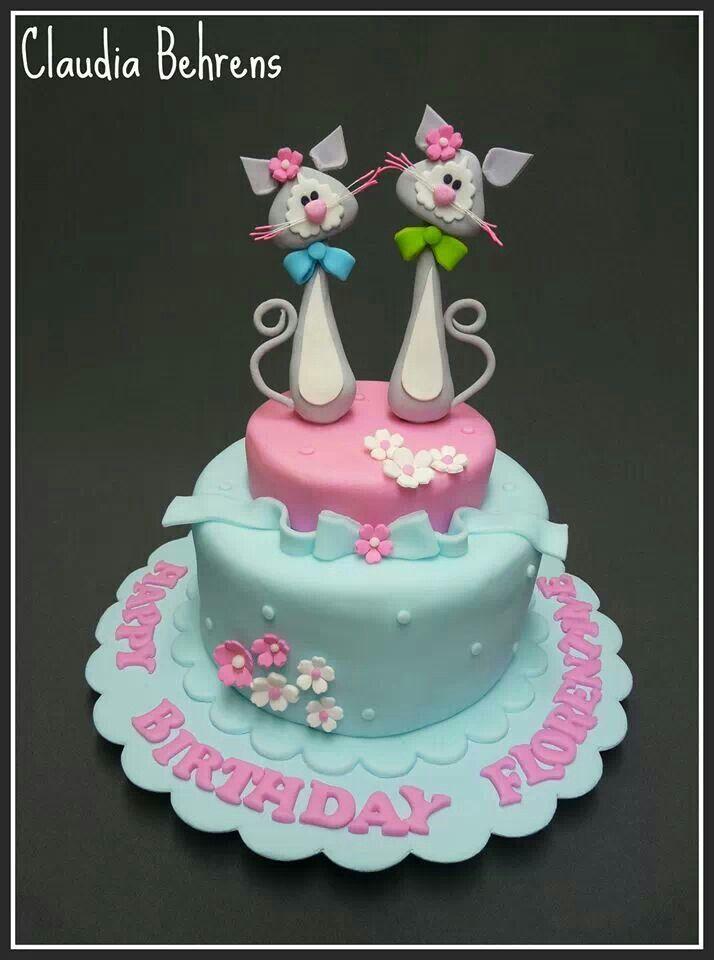 Cat birthday cake Gatitos Pinterest Birthday cakes Cake and