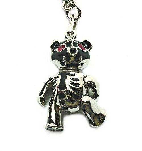 Bare Bones Bear- 4150, Silver, white Rhodium, Ruby eyes. RRP$149