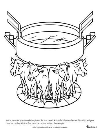 Un dibujo en blanco y negro de una pila bautismal sobre las espaldas ...