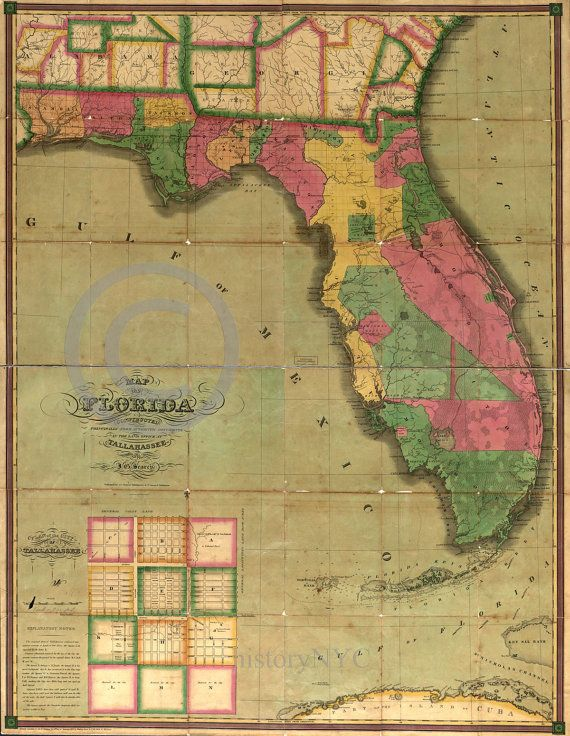 Florida On A Map.1829 Old Historical Land Survey Map Of Florida And By Historyimage