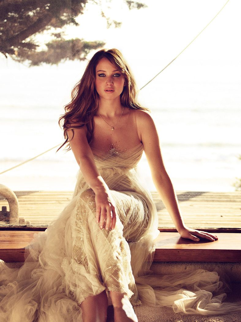 jennifer lawrence. looks like a greek goddess in this gown. love the dress!