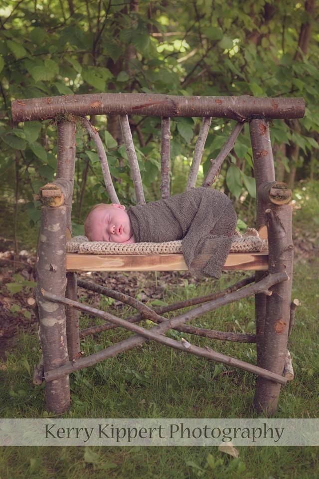 Tree branch bench newborn portrait
