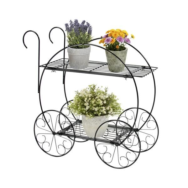 Patio Planter 2 Tiered Garden Cart Metal Plant Stand Home Decor