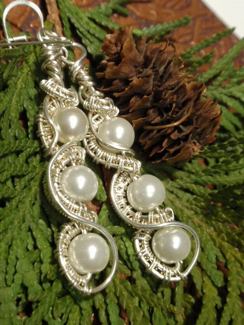 Glass Pearl long silver wire wrapped earrings wire wrapped