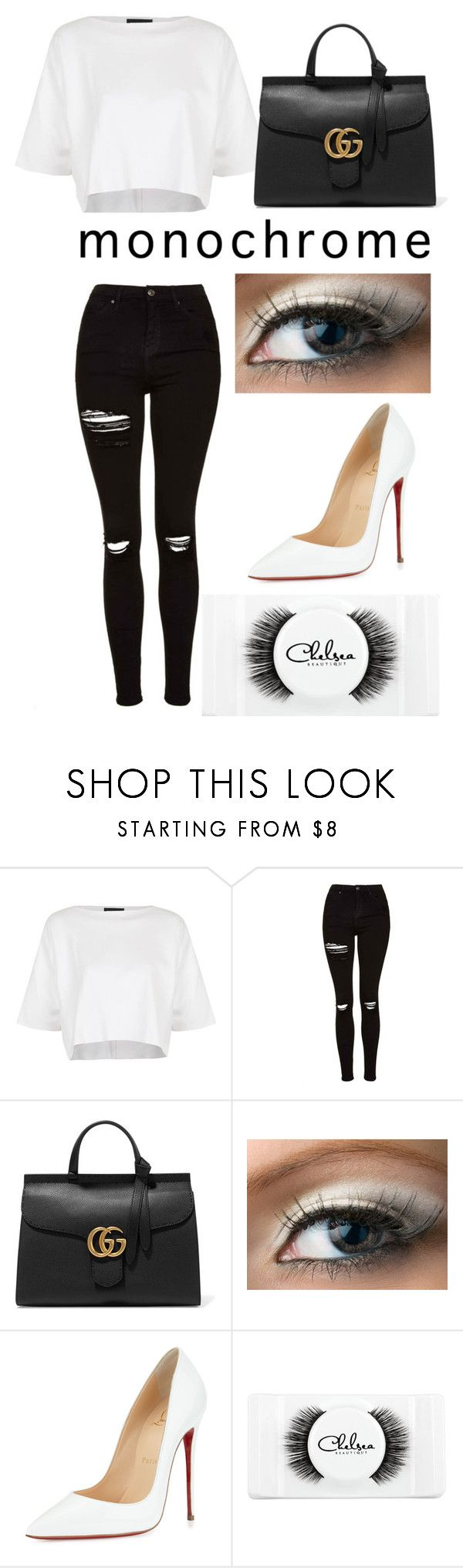"""#monochrome⚪️⚫️"" by abbyyd ❤ liked on Polyvore featuring Topshop, Gucci, Christian Louboutin, Chelsea Beautique and monochrome"