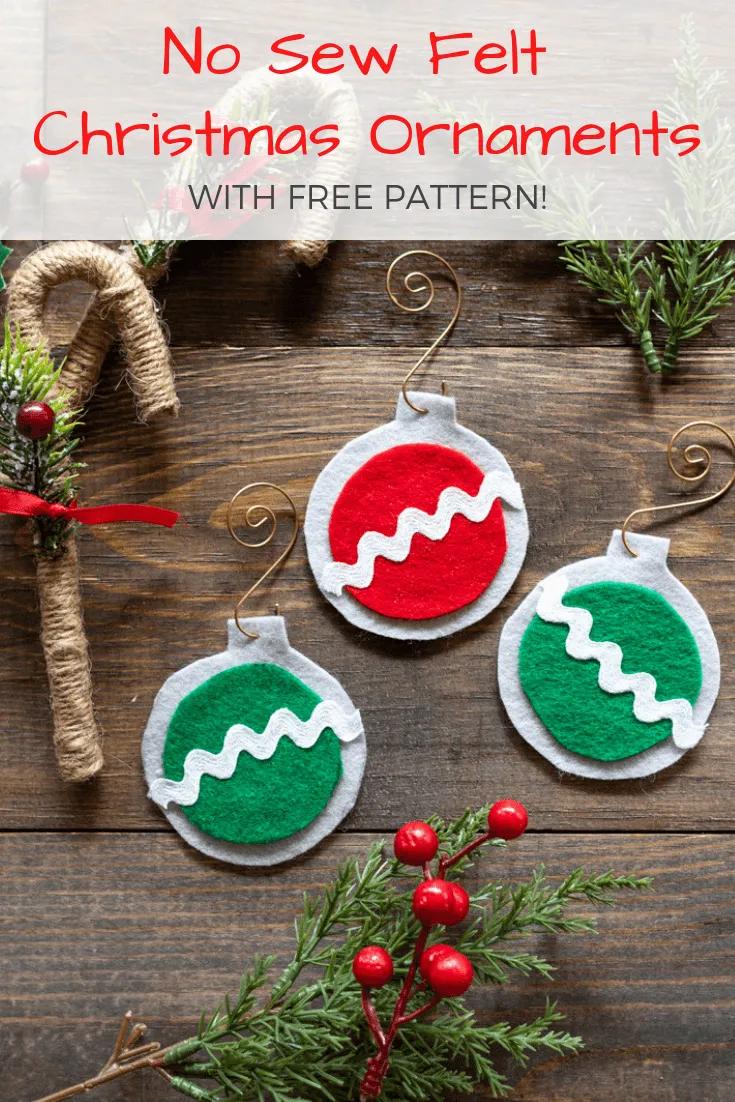 No Sew Easy Felt Christmas Ornaments Diy Felt Christmas