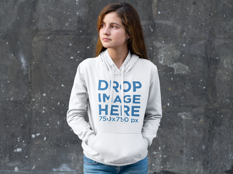 Download New Pretty Girl Standing In Front Of A Wall Hoodie Mockup Try It Here Https Placeit Net C Apparel Stages Pretty Girl Clothing Mockup Hoodie Mockup Hoodies