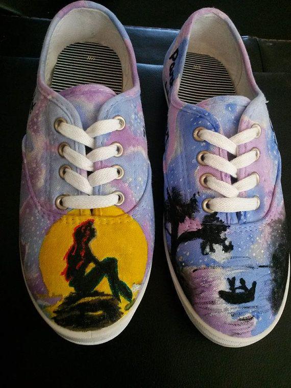 cfa3e034d28 Little Mermaid Custom Painted Shoes Ariel by HeavenlyHayley