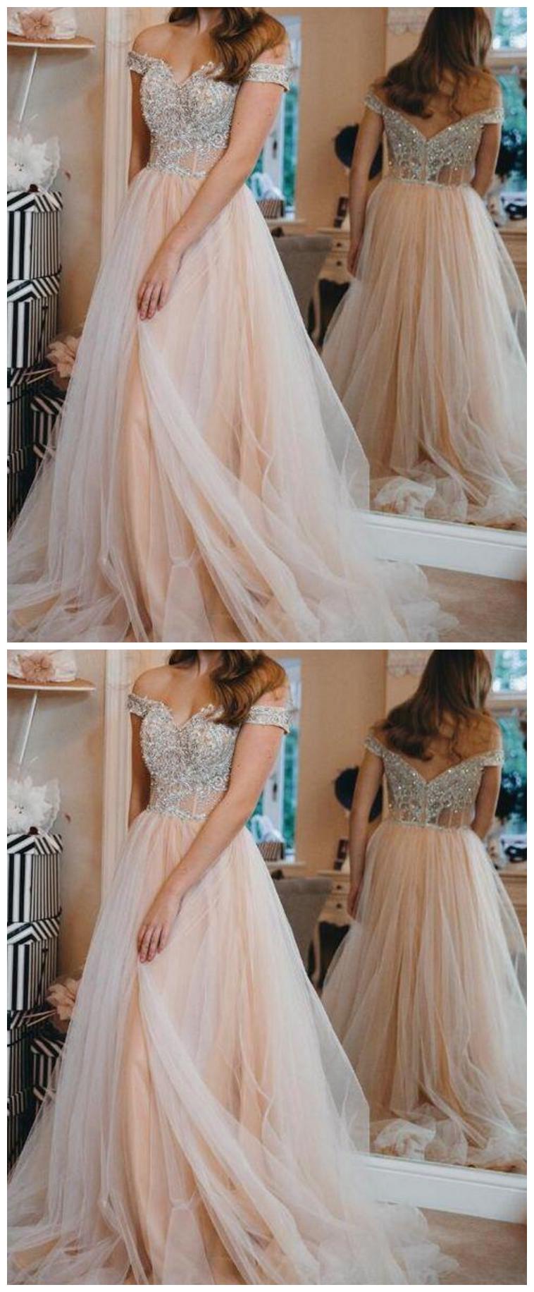 Off Shoulder Prom Dress Sparkly Beaded Evening Gowns Fashion Long Tulle School Dance Dress #schooldancedresses