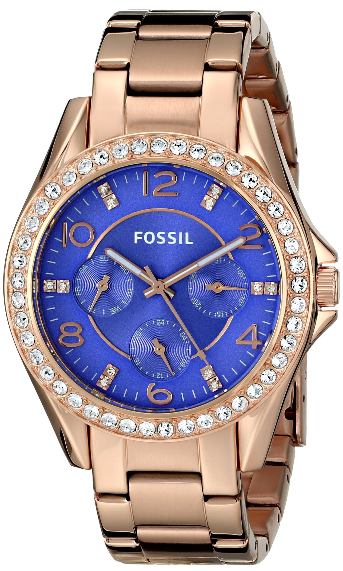 Fossil Riley Women S Fossil Riley Analog Display Quartz Rose Gold Watch With