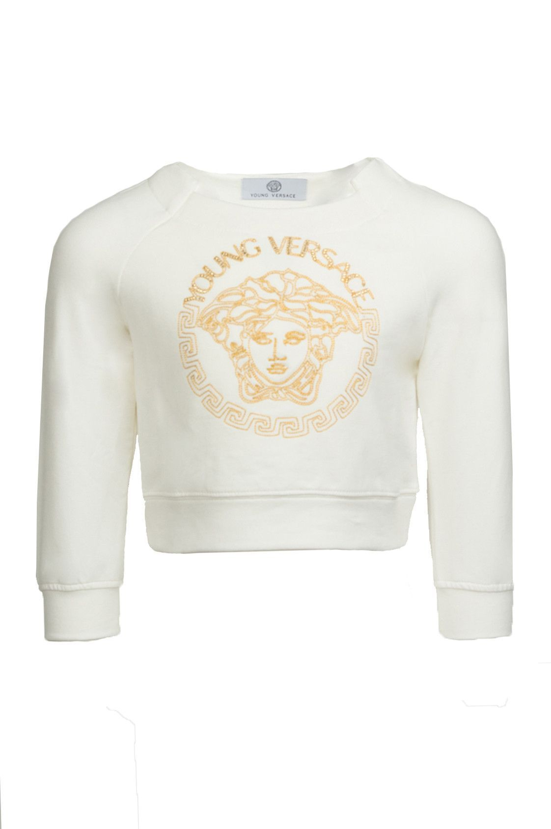 844c95092 Girls Gold Medusa Crop Sweater
