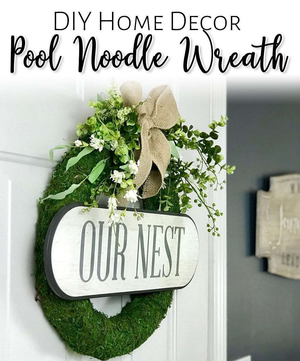 DIY Pool Noodle Moss Wreath #poolnoodlewreath Create a beautiful moss covered wreath for your home decor - using a pool noodle and some craft supplies from your stash! Easy to change out for the seasons as well! Video tutorial and supply list included!  #poolnoodle #diy #diyhomedecor #homedecor #wreath #diywreath #farmhousedecor #homedecordiy #farmhousediy #diyfarmhouse #diycraft #diycrafts #poolnoodlewreath DIY Pool Noodle Moss Wreath #poolnoodlewreath Create a beautiful moss covered wreath for