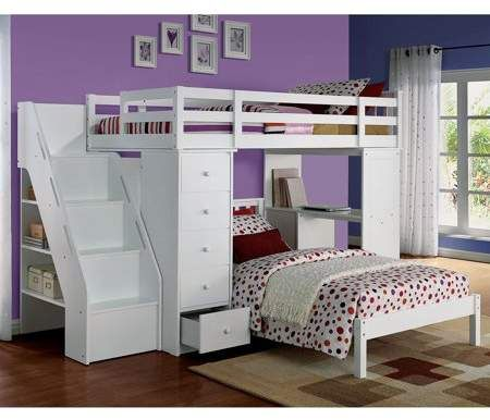 Acme Freya Twin Bed With Mission Headboard In White Solid Wood Walmart Com Kids Loft Beds White Loft Bed Twin Loft Bed