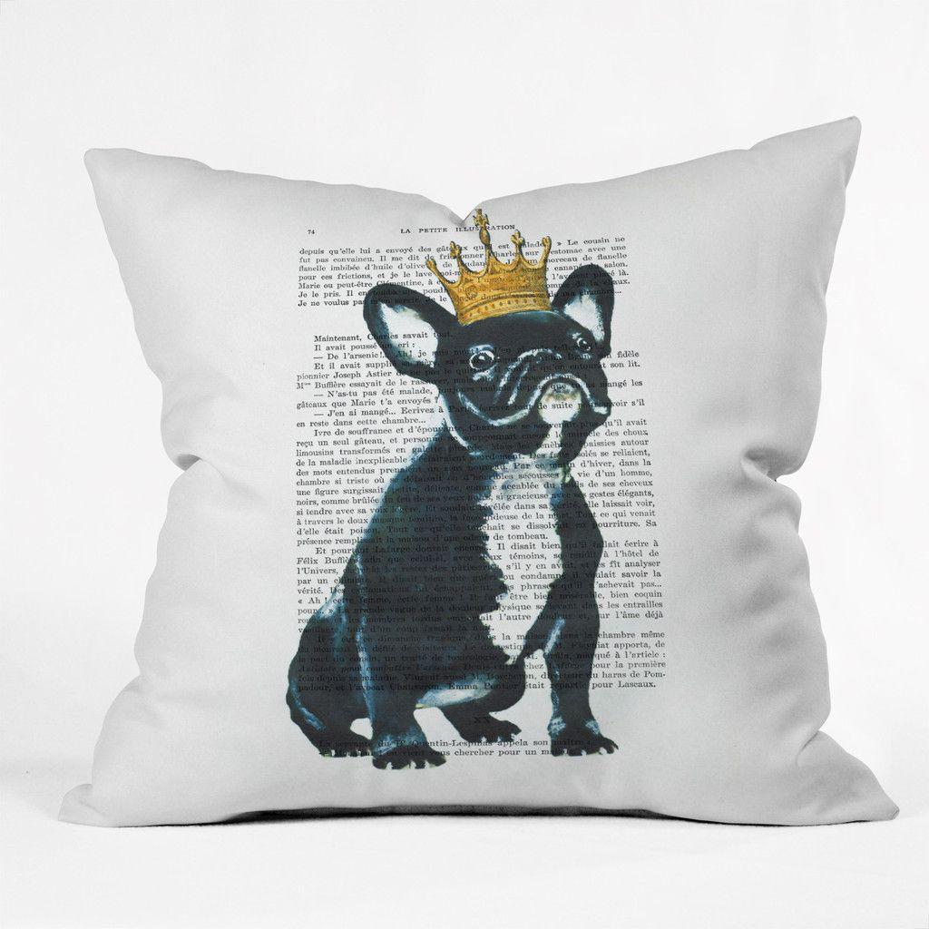 Coco de paris bulldog king outdoor throw pillow outdoor throw