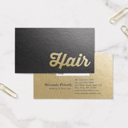 Chic minimal black gold embossed text hair stylist business card chic minimal black gold embossed text hair stylist business card simple clear clean design style colourmoves