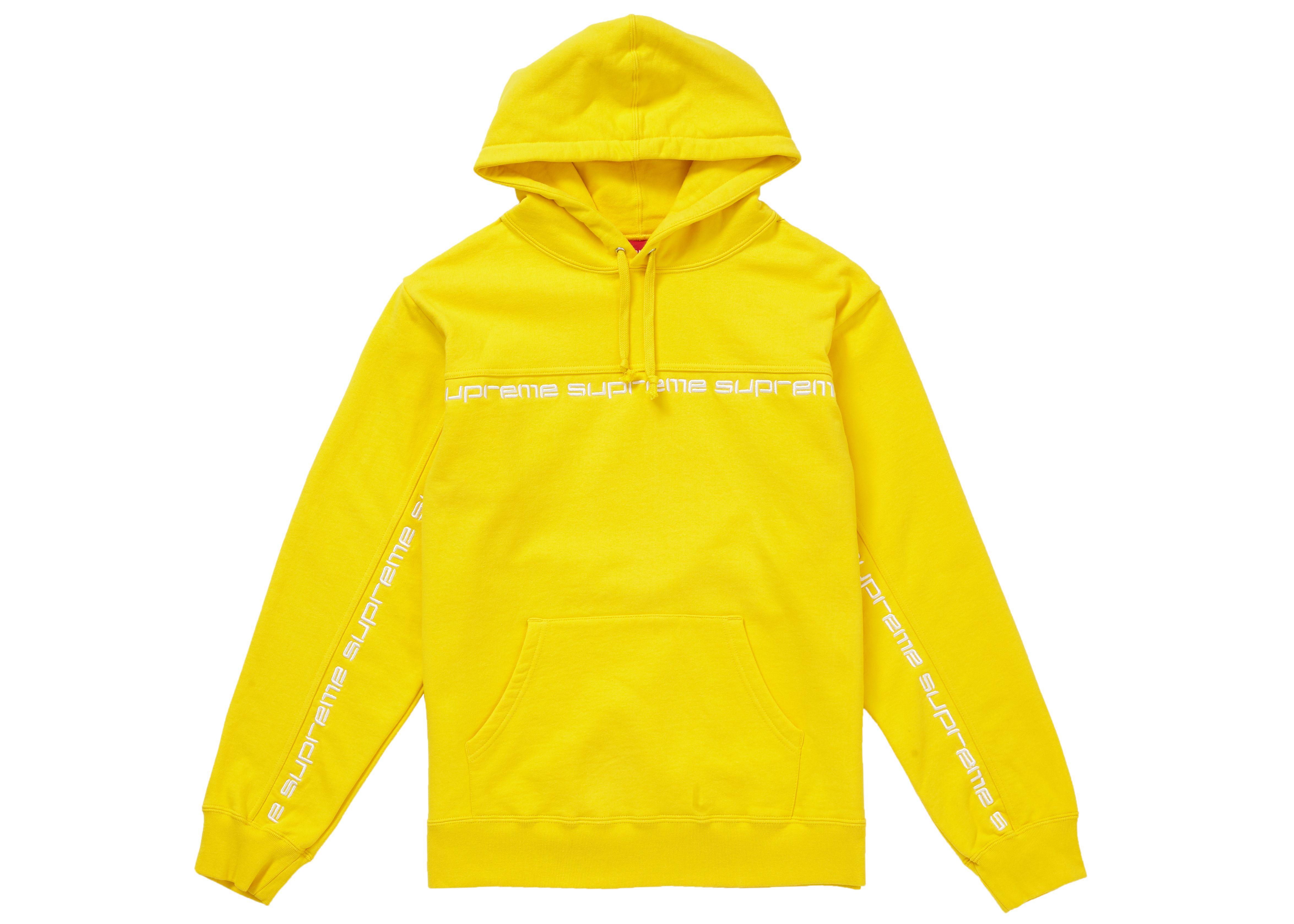 Supreme Text Stripe Hooded Sweatshirt Yellow Supreme Cloth [ 3356 x 4699 Pixel ]