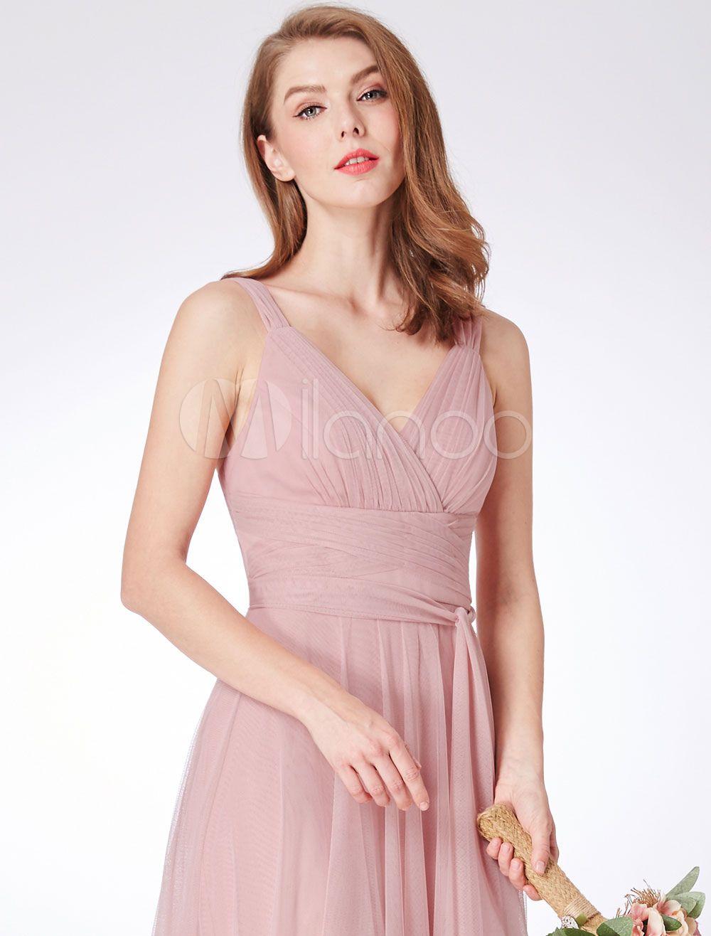 Bridesmaid Dresses Blush Pink V Neck Long Chiffon Sleeveless Prom