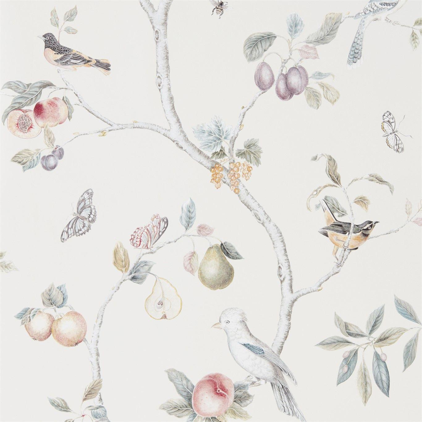 Fruit Aviary In 2020 Botanical Wallpaper Bird House Kits Wallpaper