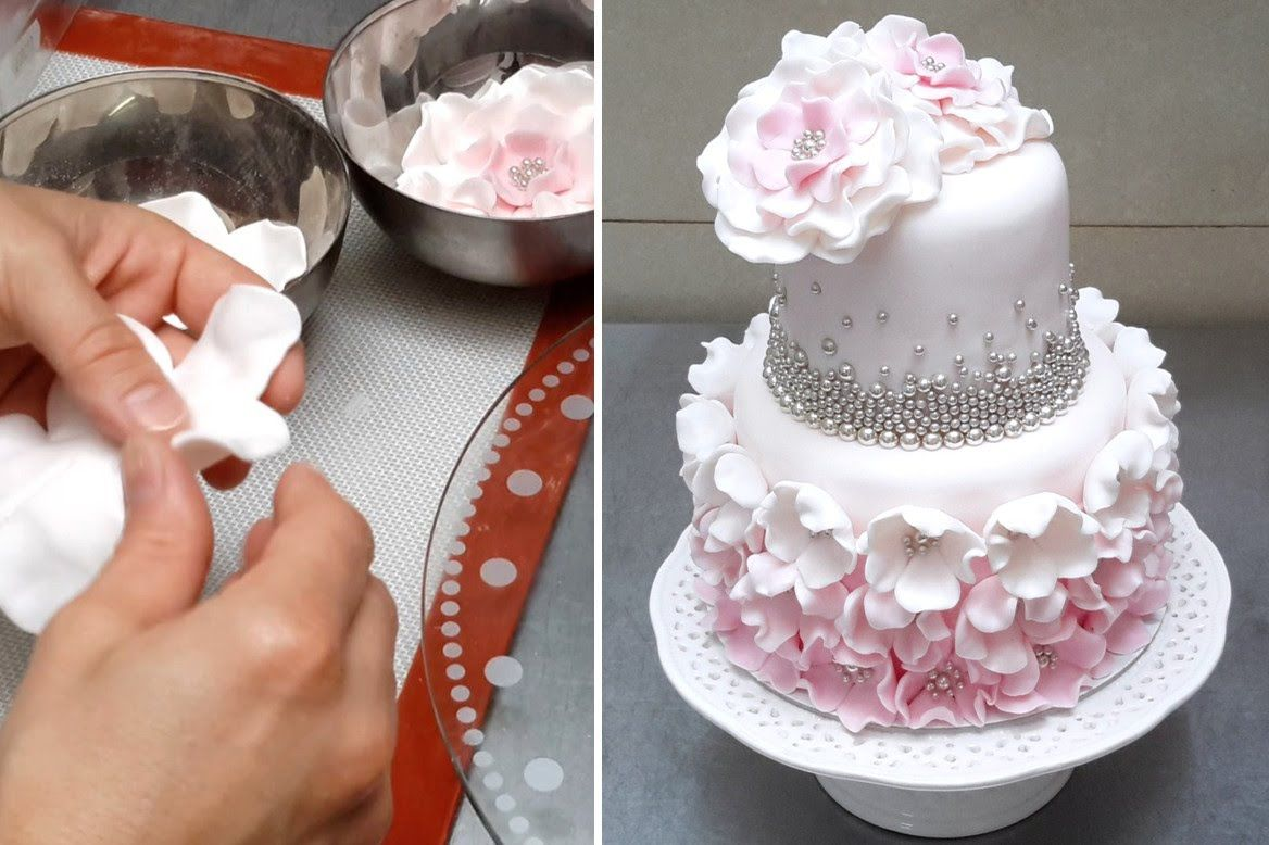 How to make a simple and elegant fondant cake tutorial by for How to decorate a cake for beginners