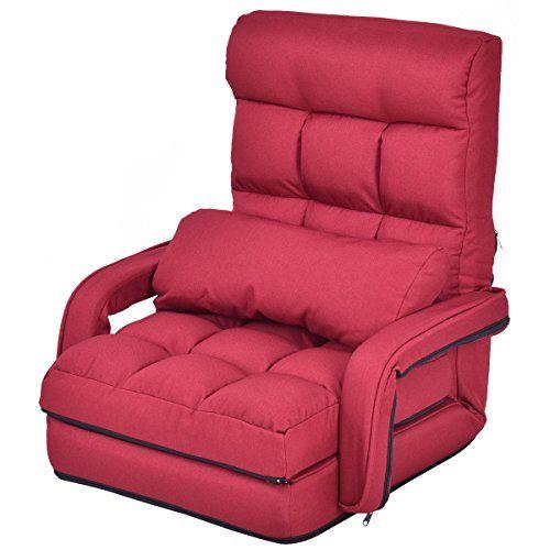 Detachable Cushion Red Folding Floor Lazy Sofa Bed w/ Armrest ...