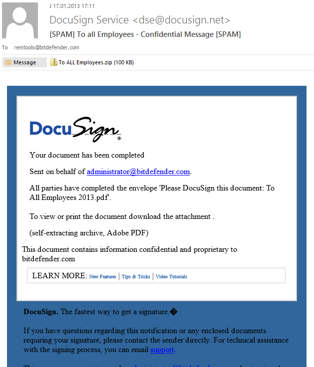Professionals that use DocuSign should beware of an active