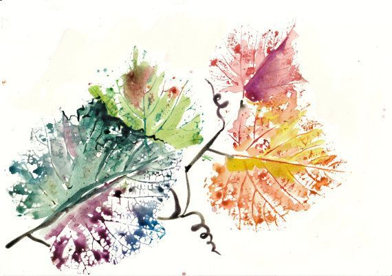 Golden Leaves Autumn Watercolor Painting Vine Leaf