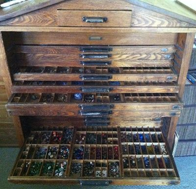 Old Printeru0027s Box Turned Bead Cabinet~ Man, I Would Love One Of These