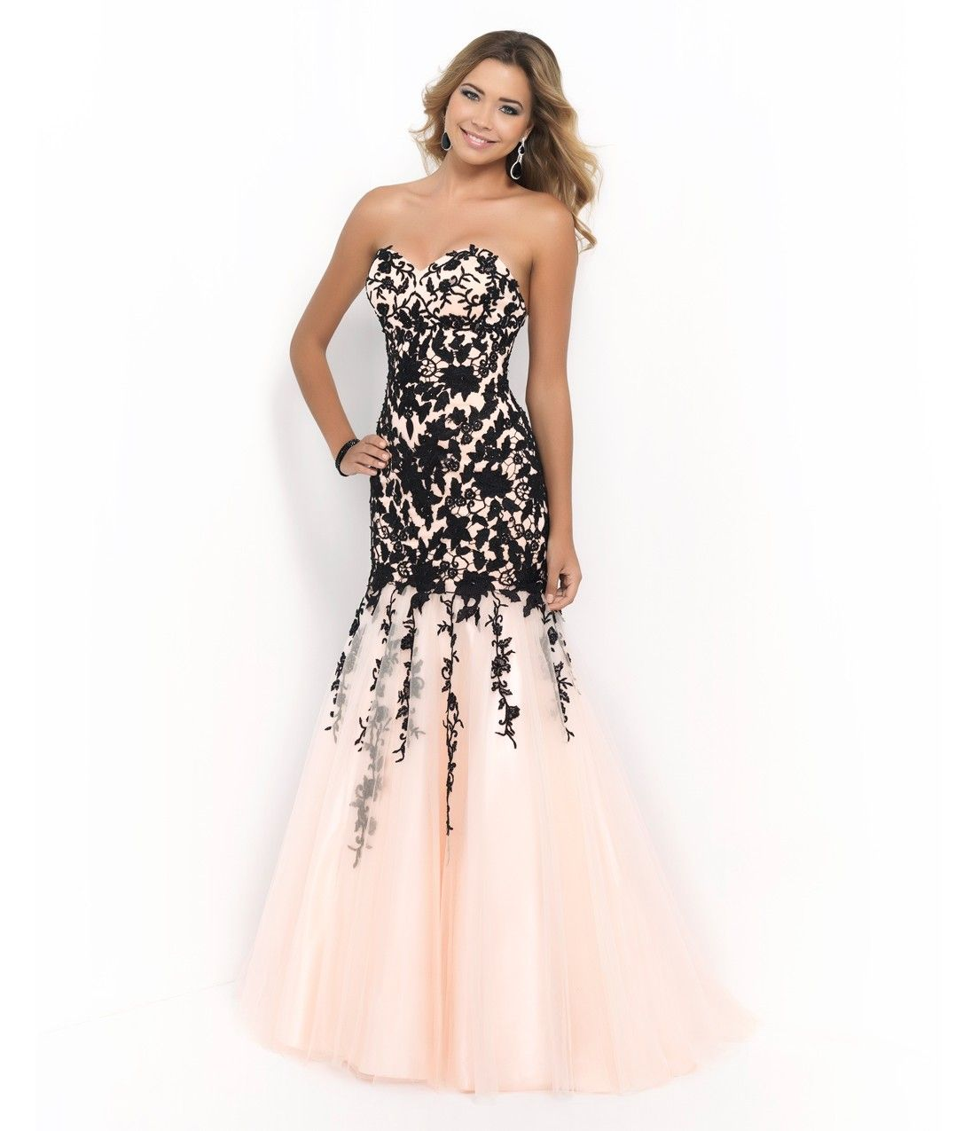 Peach u black strapless sweetheart beaded lace bodice trumpet gown