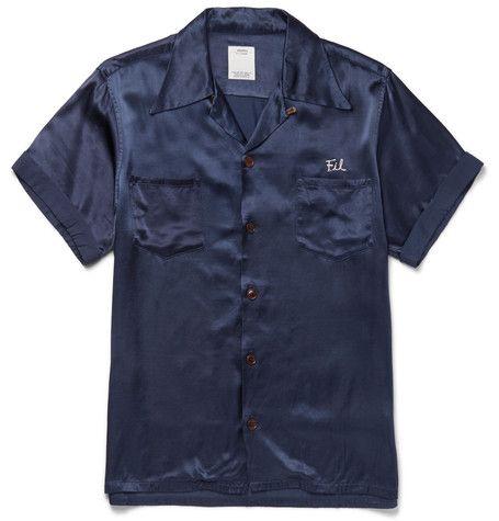 38684ed31d75 VISVIM Irving Camp-Collar Embroidered Satin Shirt.  visvim  cloth  casual  shirts