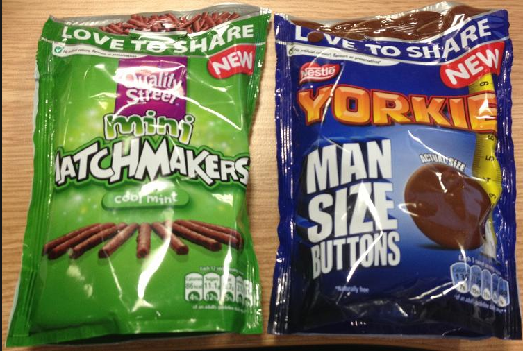 Yorkie Man Size Buttons And Quality Street Mini Matchmaker Cool Mint