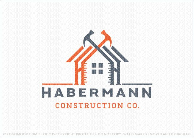 Handyman Construction Building Logo Design Featuring A Home Design Created With Wooden Frame