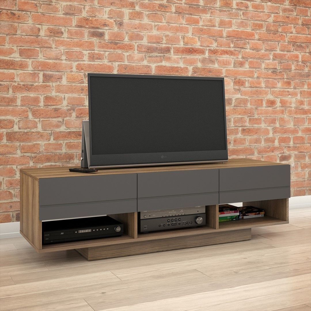 105142 Radar Tv Stand 60 Inch Walnut Charcoal Tv Stand Diy  # Meuble Tv Electro Depot
