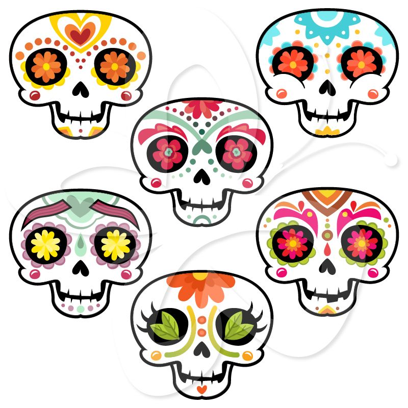 sugar skulls day of the dead creative clipart collection dia de rh pinterest com day of the dead skull clipart day of the dead clip art to color