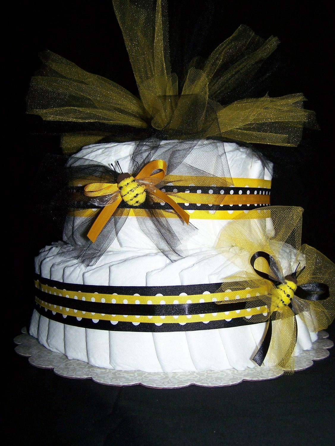 BUMBLE BEE 2 Tier Diaper Cake Baby Shower Centerpieces Ideas Gifts