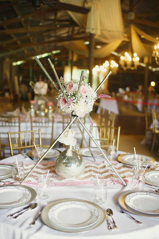 Metal Rod Teepee Centerpiece Weddingchicks Tall Wedding