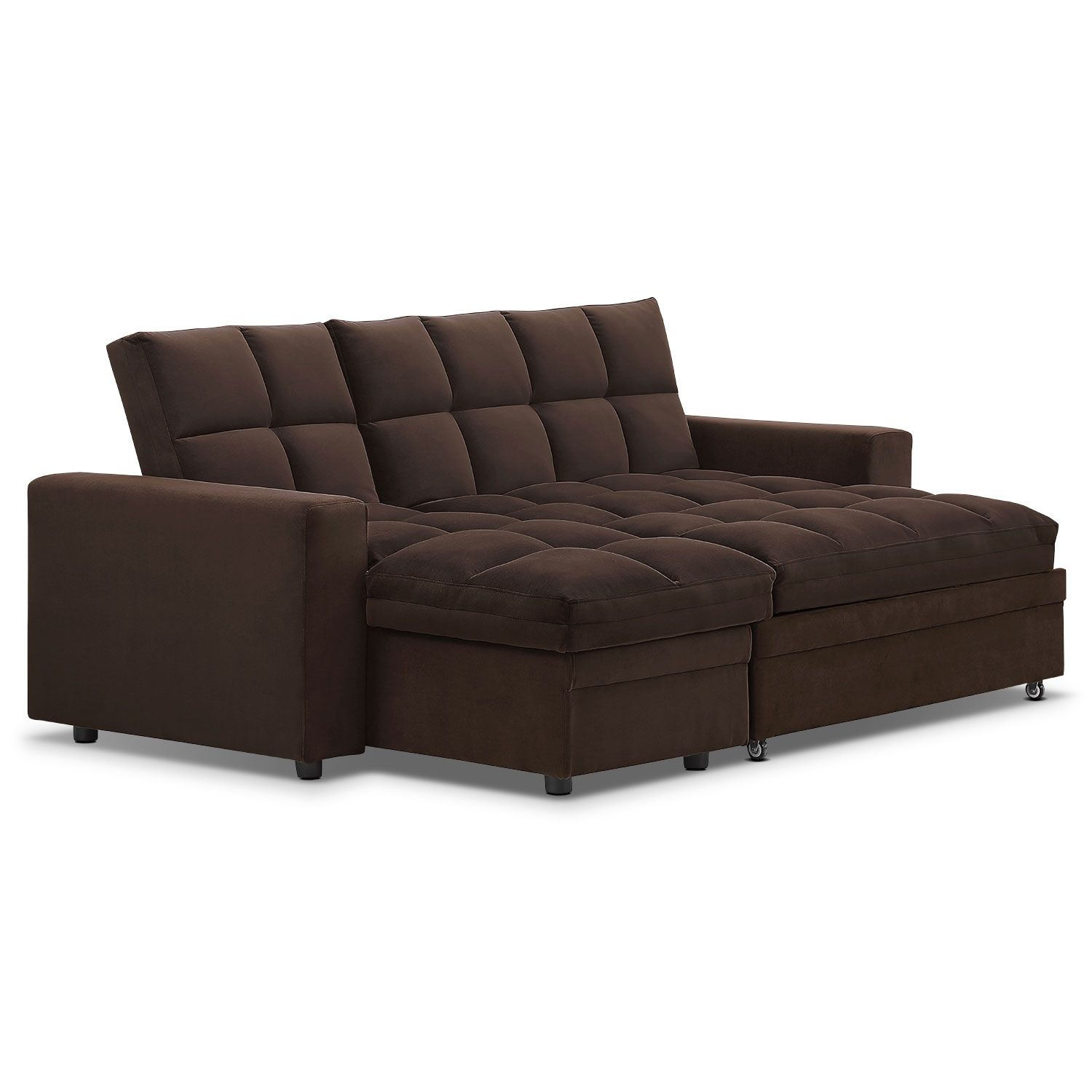Brown Sectional Sofa With Sleeper & Storage