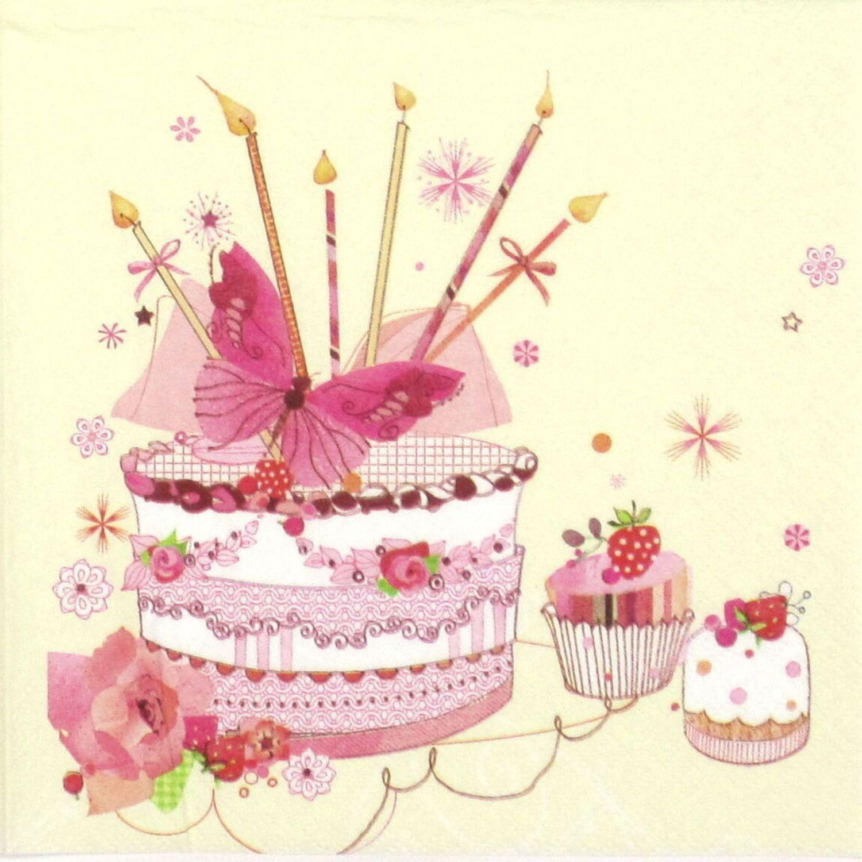 5 Birthday Cake Paper Napkins Serviettes Decoupage Napkins  Etsy